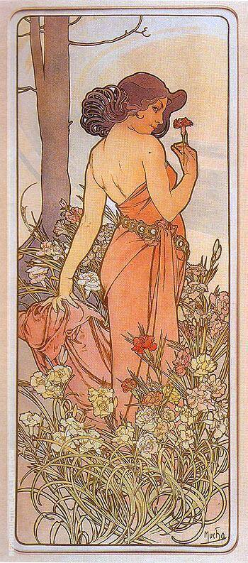 Carnation 1898 By Alphonse Mucha - Oil Paintings & Art Reproductions - Reproduction Gallery
