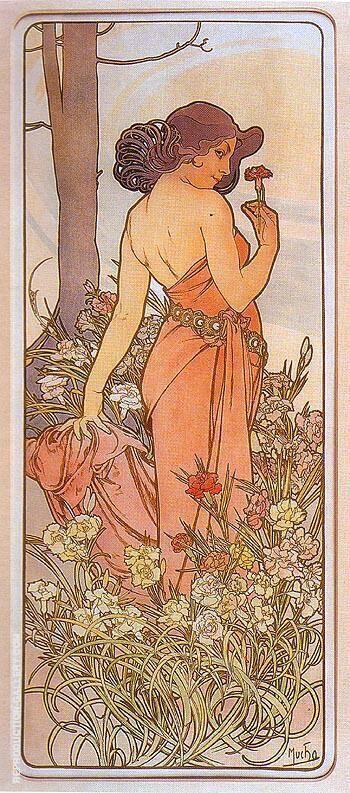 Carnation 1898 By Alphonse Mucha