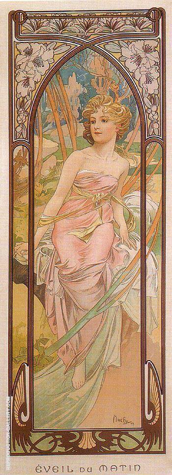 Awake in the Morning 1899 By Alphonse Mucha - Oil Paintings & Art Reproductions - Reproduction Gallery