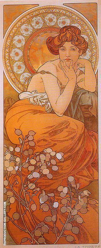 Topaz By Alphonse Mucha Replica Paintings on Canvas - Reproduction Gallery