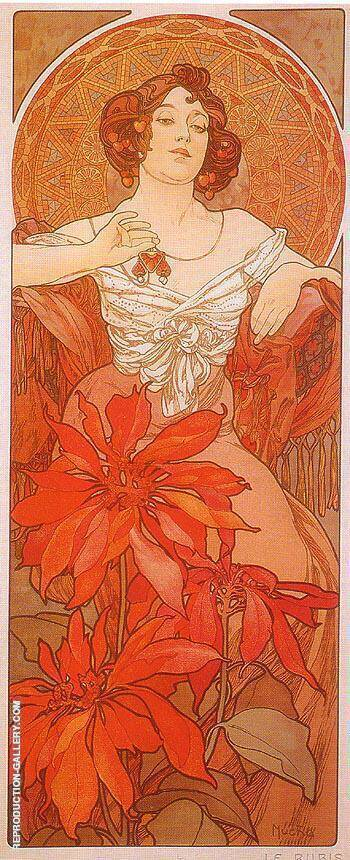 Ruby Painting By Alphonse Mucha - Reproduction Gallery