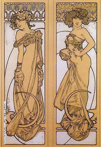 Two Women Standing 1902 By Alphonse Mucha
