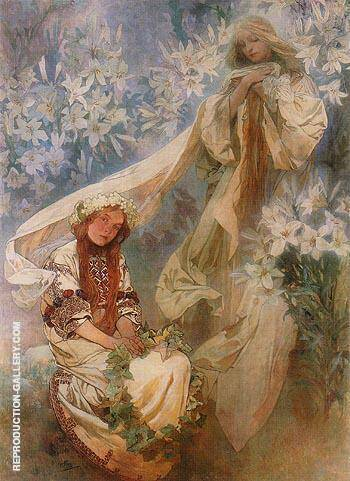 Reproduction of Madonna of the Lilies 1905 by Alphonse Mucha | Oil Painting Replica On CanvasReproduction Gallery