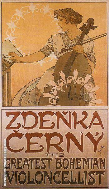 Zdenka Cerny The Greatest Bohemian Violoncellist 1913 By Alphonse Mucha
