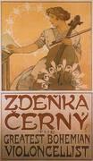 Zdenka Cerny The Greatest Bohemian Violoncellist 1913 By Alphonse Mucha
