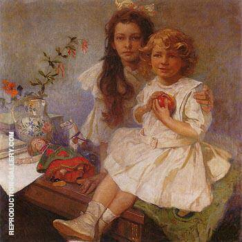 Jaroslava and Jiri the Artist s Children 1919 By Alphonse Mucha