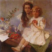 Jaroslava and Jiri the Artist s Children 1919 By Alphonse Mucha