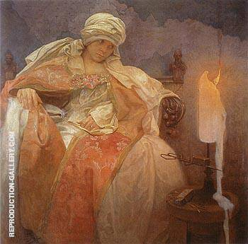 Woman with Burning Candle 1933 By Alphonse Mucha