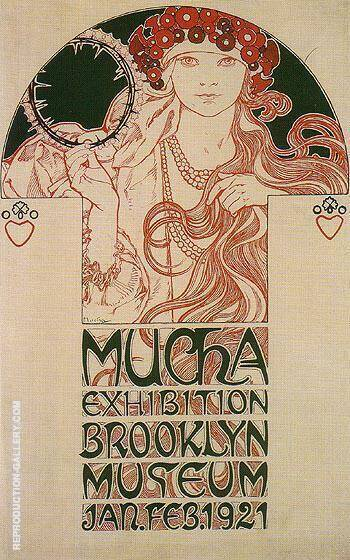 Drawing for a Poster Announcing the Mucha Exhibition at the brooklyn Museum 1921 By Alphonse Mucha