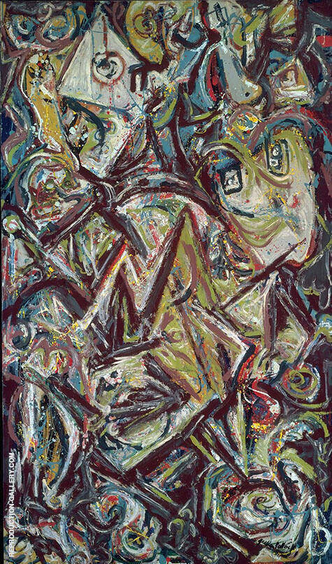 Troubled Queen 1945 By Jackson Pollock Replica Paintings on Canvas - Reproduction Gallery