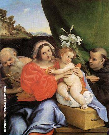 Virgin and Child with Saints Jerome and Anthony 1424 By Lorenzo Lotto - Oil Paintings & Art Reproductions - Reproduction Gallery