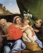 Virgin and Child with Saints Jerome and Anthony 1424 By Lorenzo Lotto