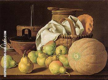Still Life with Melon and Pears 1770 By Luis Melendez