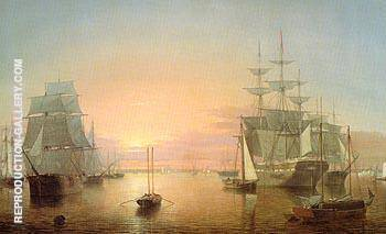 Boston Harbour c1850 By Fitz Hugh Lane - Oil Paintings & Art Reproductions - Reproduction Gallery