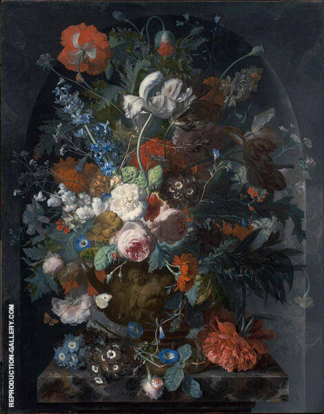 Vase of Flowers in a Niche c1732 By Jan Van Huysum Replica Paintings on Canvas - Reproduction Gallery