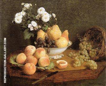 Flowers and Fruit on a Table 1865 By Henri Fantin-Latour