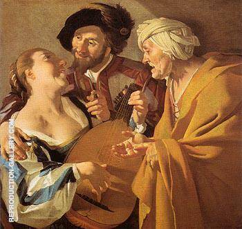 The Procuress 1672 By Dirk Van Baburen - Oil Paintings & Art Reproductions - Reproduction Gallery