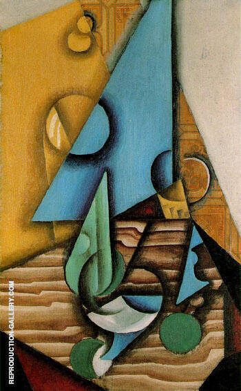 Bottle and Glass on a Table c1912 By Juan Gris