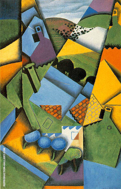 Landscape with Houses at Ceret 1913 By Juan Gris Replica Paintings on Canvas - Reproduction Gallery