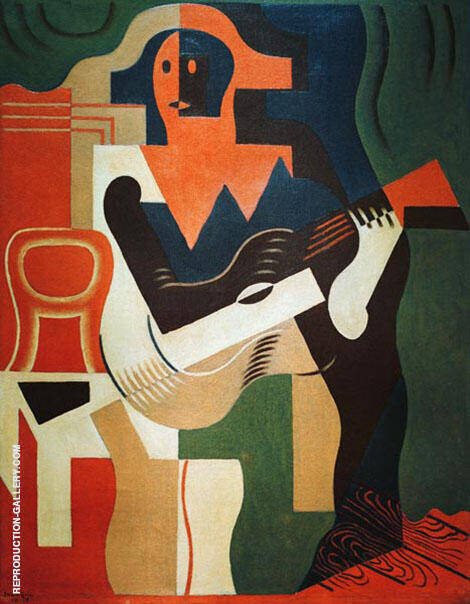 Harlequin with Guitar 1919 By Juan Gris - Oil Paintings & Art Reproductions - Reproduction Gallery