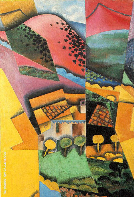 Landscape at Ceret 1913 By Juan Gris - Oil Paintings & Art Reproductions - Reproduction Gallery