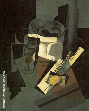 Fruit Dish Glass and Lemon Still Life with Newspaper 1915 By Juan Gris Replica Paintings on Canvas - Reproduction Gallery