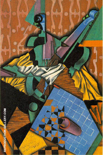 Violin and Checkerboard 1913 By Juan Gris Replica Paintings on Canvas - Reproduction Gallery