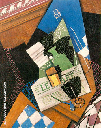Water bottle, Bottle and Fruit Dish 1915 By Juan Gris - Oil Paintings & Art Reproductions - Reproduction Gallery
