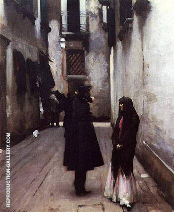 Venetian Street c1880 By John Singer Sargent - Oil Paintings & Art Reproductions - Reproduction Gallery