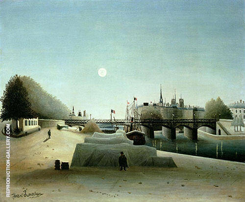 View of the Ile Saint Louis seen from Port Saint Nicolas 1888 By Henri Rousseau Replica Paintings on Canvas - Reproduction Gallery