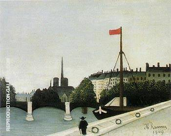 View of the Ile Saint Louis seen from the Quai Henri IV 1901 By Henri Rousseau - Oil Paintings & Art Reproductions - Reproduction Gallery