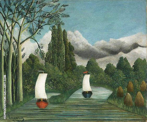 Reproduction of River Landscape The Banks of the Oise c1908 by Henri Rousseau | Oil Painting Replica On CanvasReproduction Gallery