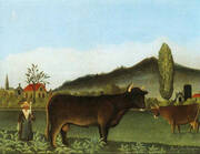 Landscape with Cattle By Henri Rousseau