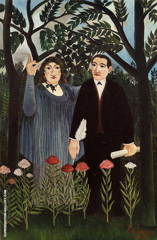 The Muse Inspiring the Poet 1909 By Henri Rousseau Replica Paintings on Canvas - Reproduction Gallery