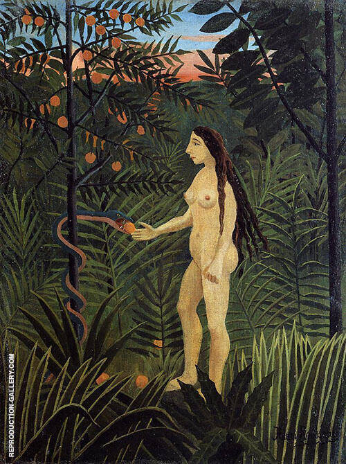 Eve and the Serpent Painting By Henri Rousseau - Reproduction Gallery
