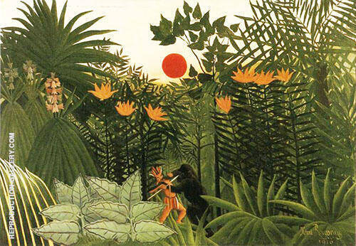 Tropical Landscape American Indian Struggling with a Gorilla Painting By ...