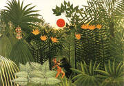 Tropical Landscape American Indian Struggling with a Gorilla By Henri Rousseau