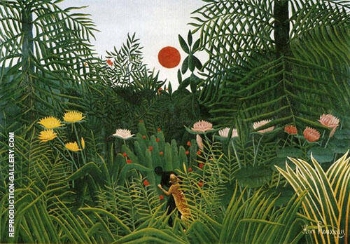 Reproduction of Negro Attacked by a Jaguar 1910 by Henri Rousseau | Oil Painting Replica On CanvasReproduction Gallery