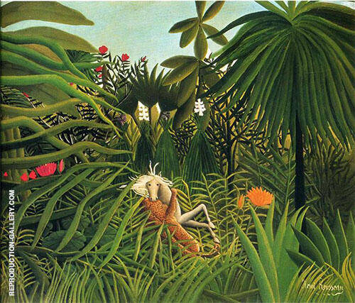 Horse Attacked by a Jaguar 1910 By Henri Rousseau
