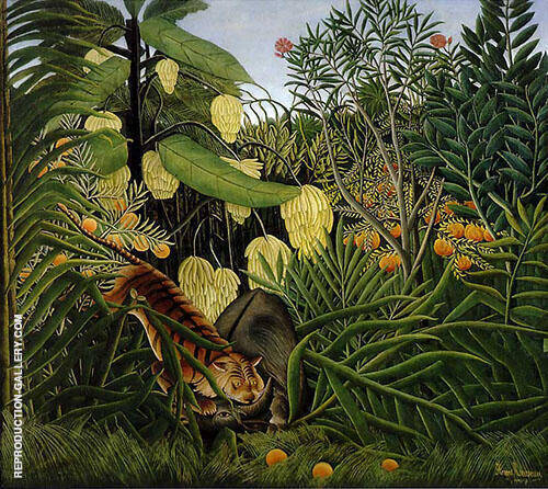 Fight between a Tiger and a Buffalo 1908 By Henri Rousseau - Oil Paintings & Art Reproductions - Reproduction Gallery