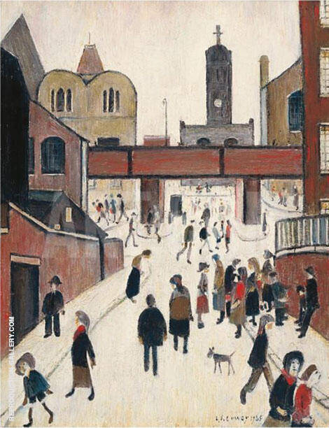 Street Scene with Viaduct By L-S-Lowry - Oil Paintings & Art Reproductions - Reproduction Gallery
