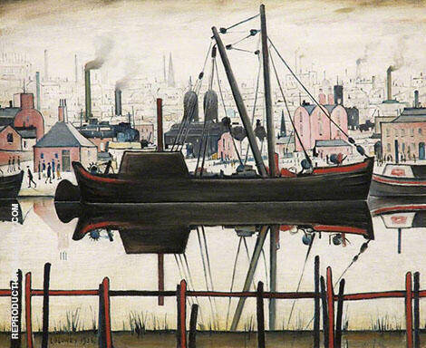 The Coal Barge By L-S-Lowry Replica Paintings on Canvas - Reproduction Gallery