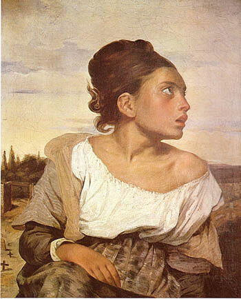 Orphan Girl at the Cemetery 1823 By F.V.E. Delcroix - Oil Paintings & Art Reproductions - Reproduction Gallery