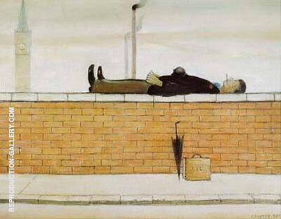 Man Lying on a Wall 1957 By L-S-Lowry - Oil Paintings & Art Reproductions - Reproduction Gallery