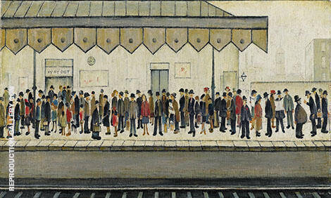 Railway Platform 1953 By L-S-Lowry - Oil Paintings & Art Reproductions - Reproduction Gallery