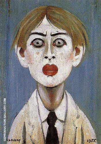 Portrait of a Young Man 1955 By L-S-Lowry - Oil Paintings & Art Reproductions - Reproduction Gallery