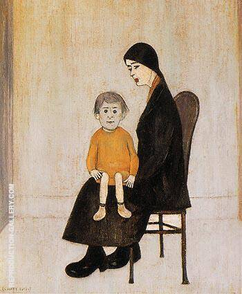 Reproduction of Mother and Child 1956 by L-S-Lowry | Oil Painting Replica On CanvasReproduction Gallery