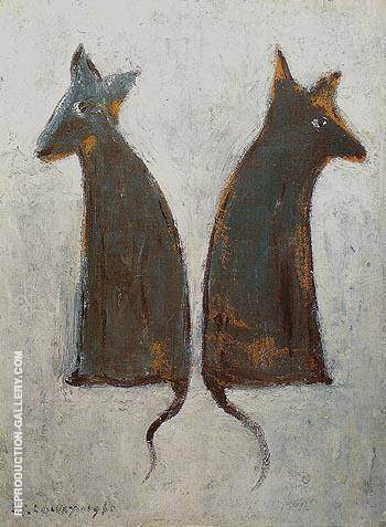Two Dogs 1961 By L-S-Lowry