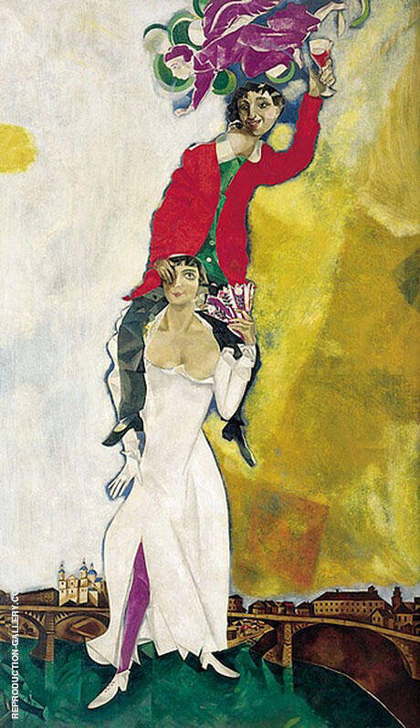 Double Portrait with Wine Glass Bella and Marc 1917 By Marc Chagall