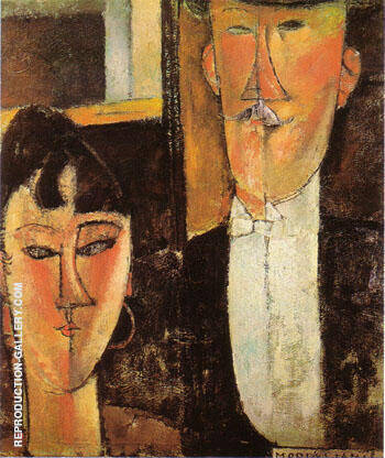 Bride and Groom c 1915 By Amedeo Modigliani